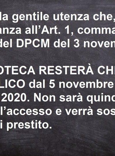 DPCM 3 novembre 2020 – Chiusura Biblioteca
