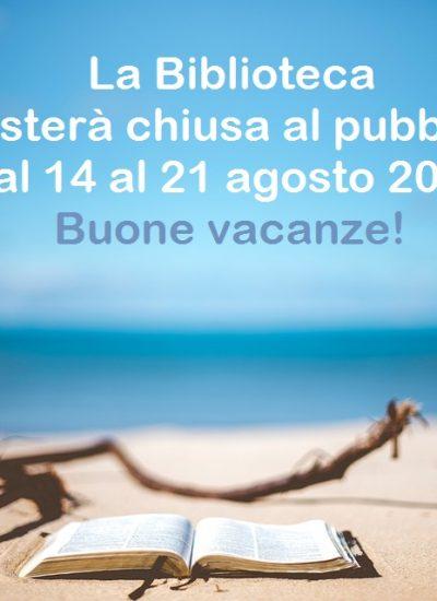 "Chiusura estiva Biblioteca Comunale ""Silvio Zavatti"""