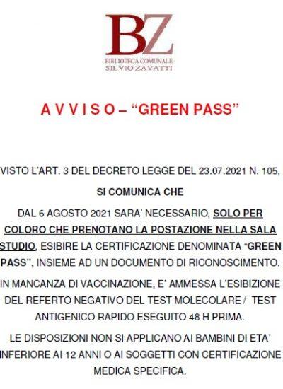 Avviso – Green Pass
